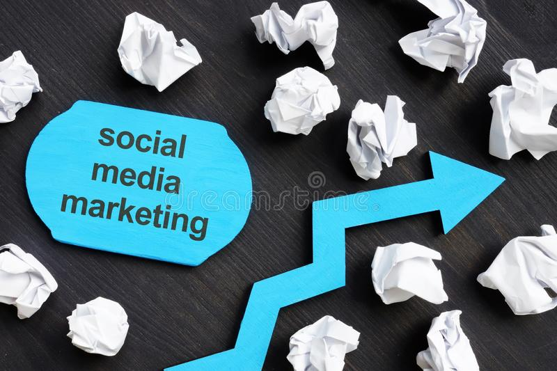 Text sign showing social media marketing. The text is written on a small wooden board royalty free stock photos