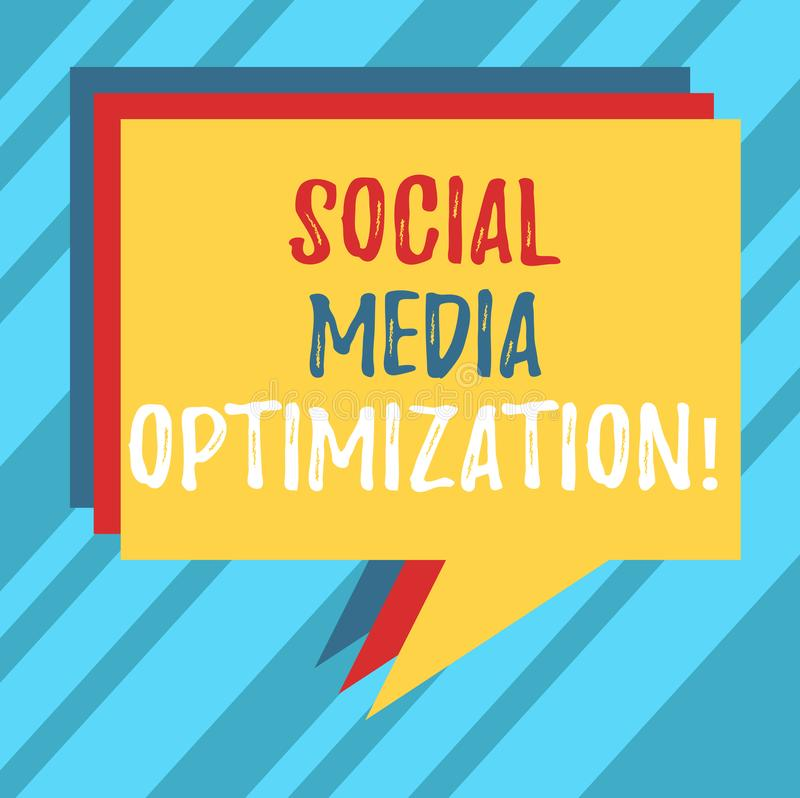 Text sign showing Social Media Optimization. Conceptual photo Digital strategy Generate viral publicity Stack of Speech Bubble vector illustration