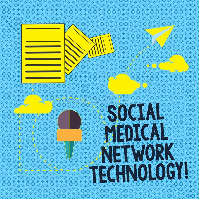 Text sign showing Social Medical Network Technology. Conceptual photo Online modern networking connection Information and stock illustration