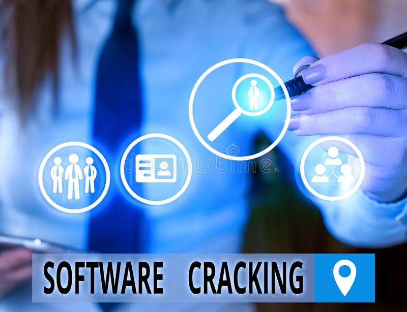 Text sign showing Software Cracking. Conceptual photo modification of software to remove or disable features. Text sign showing Software Cracking. Business royalty free stock photography