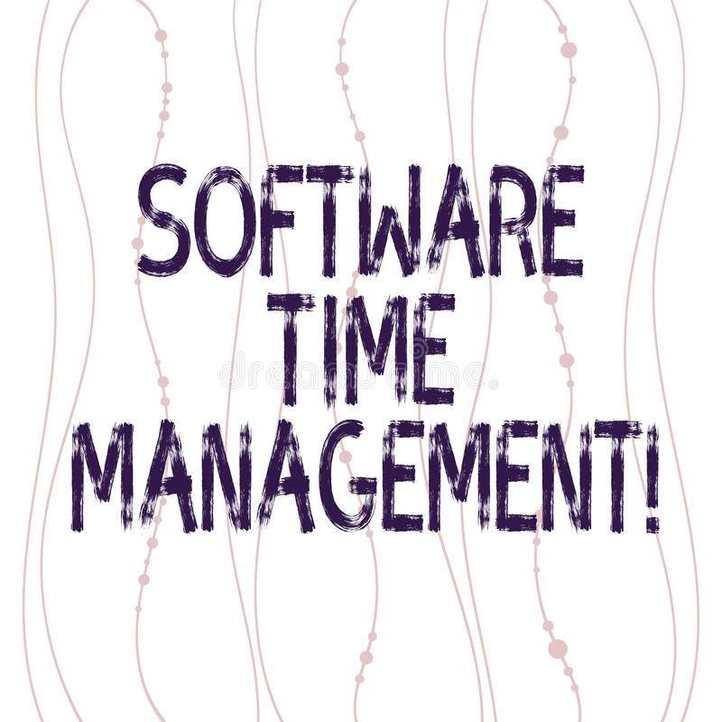 Text sign showing Software Time Management. Conceptual photo Tools used to monitor workers time spent in work Vertical stock illustration