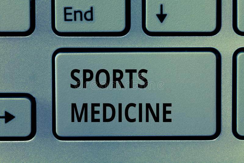 Text sign showing Sports Medicine. Conceptual photo Treatment and prevention of injuries related to sports.  stock images
