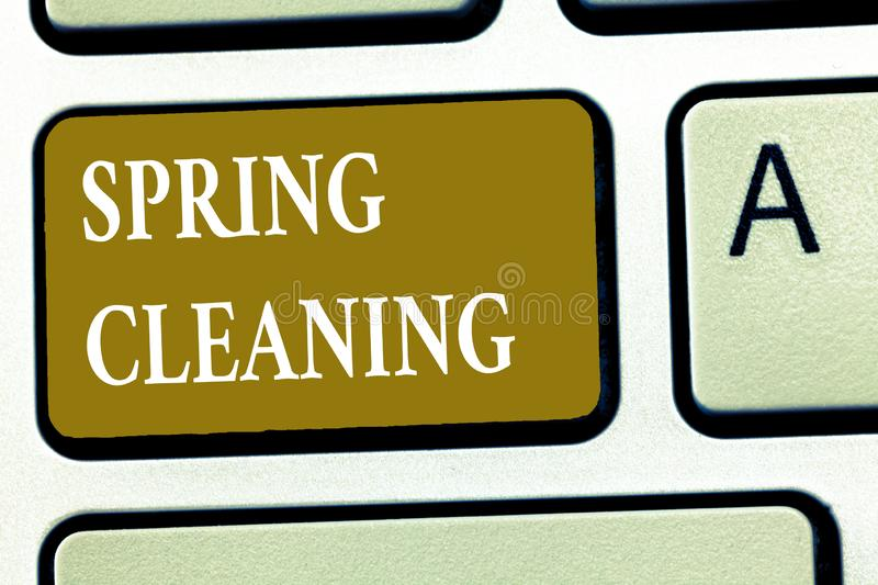 Text sign showing Spring Cleaning. Conceptual photo practice of thoroughly cleaning house in the springtime.  royalty free stock photo