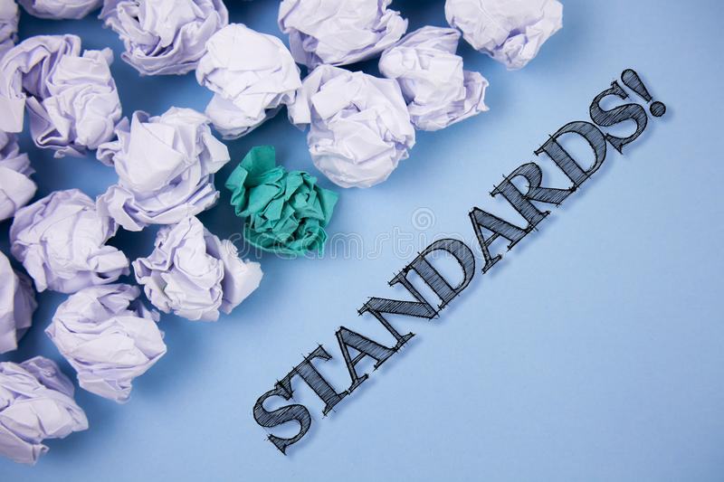 Text sign showing Standards Motivational Call. Conceptual photo Quality Controls Regulations Guidelines written on the Plain Blue vector illustration