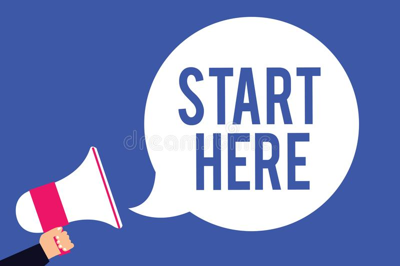 Text sign showing Start Here. Conceptual photo telling someone this is beginning point to go from to destination Man holding megap. Hone loudspeaker speech vector illustration