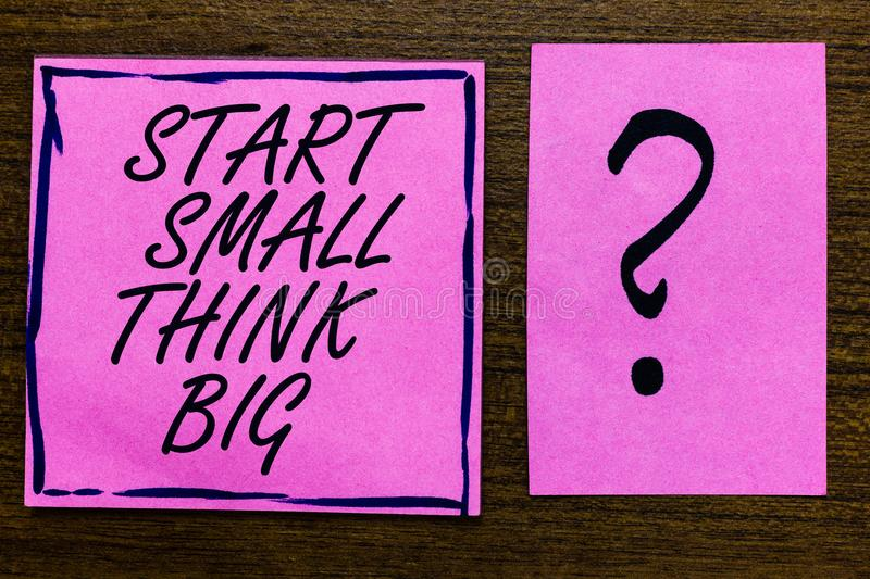 Text sign showing Start Small Think Big. Conceptual photo Initiate with few things have something great in mind Violet color black. Lined sticky note with royalty free stock photography