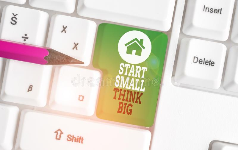 Text sign showing Start Small Think Big. Conceptual photo Initiate with few things have something great in mind White pc. Text sign showing Start Small Think Big royalty free stock photo