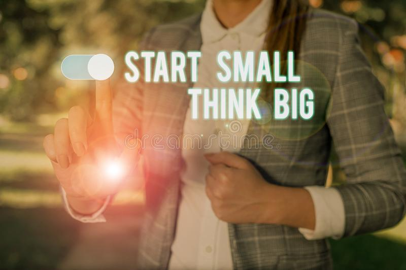 Text sign showing Start Small Think Big. Conceptual photo Initiate with few things have something great in mind Woman. Text sign showing Start Small Think Big royalty free stock photos