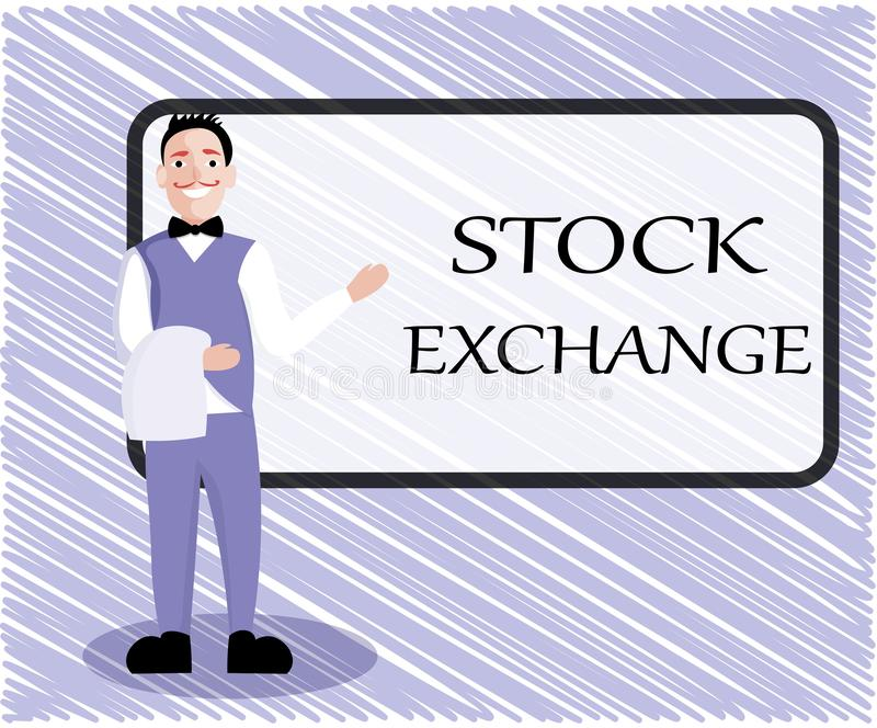 Text sign showing Stock Exchange. Conceptual photo An electronic market where owners of businesses get together.  vector illustration