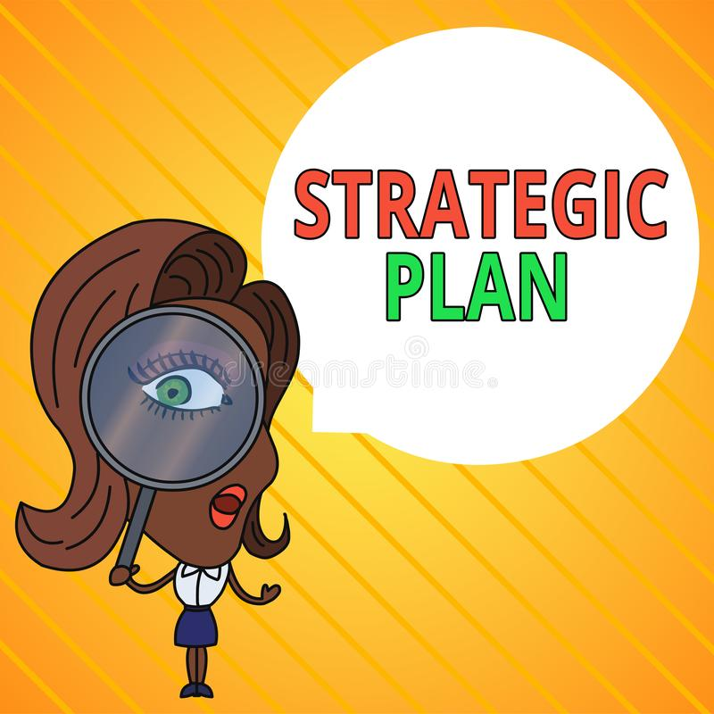 Text sign showing Strategic Plan. Conceptual photo a systematic process of envisioning a desired future Woman Looking. Text sign showing Strategic Plan. Business royalty free illustration