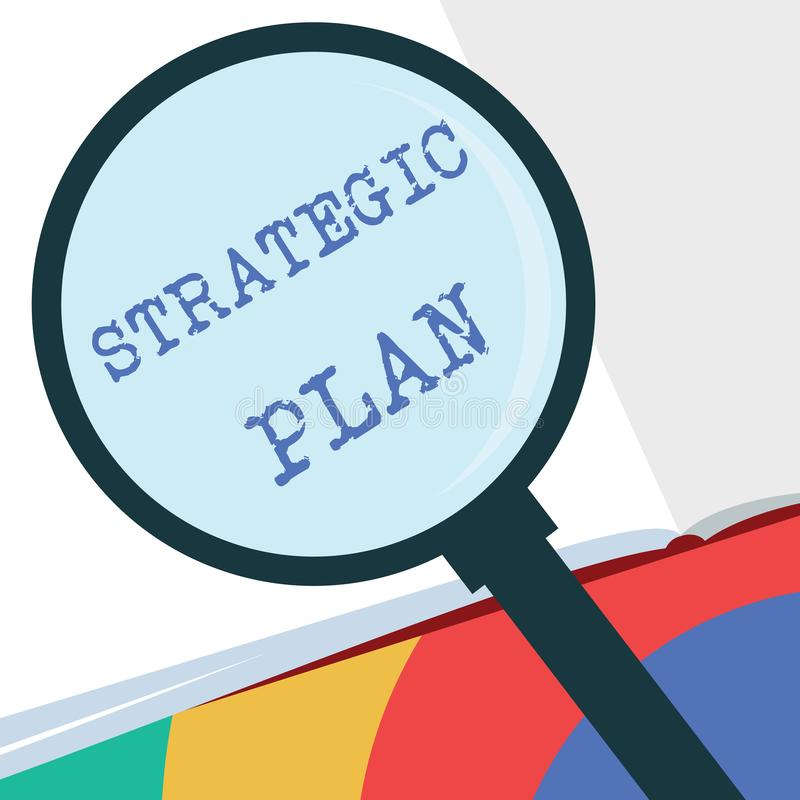 Text sign showing Strategic Plan. Conceptual photo A process of defining strategy and making decisions.  vector illustration