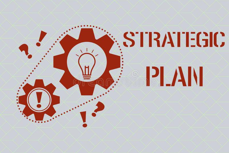 Text sign showing Strategic Plan. Conceptual photo A process of defining strategy and making decisions.  royalty free illustration