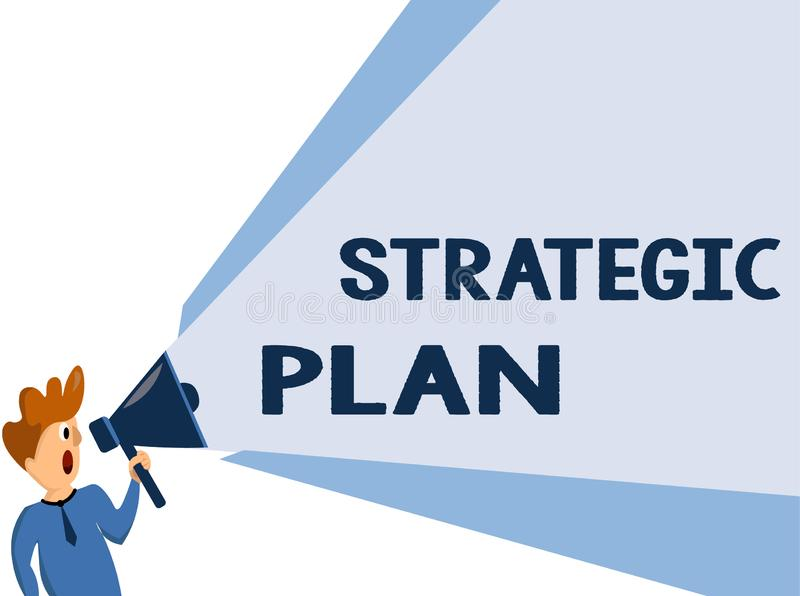 Text sign showing Strategic Plan. Conceptual photo A process of defining strategy and making decisions.  stock illustration