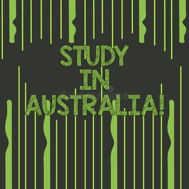 Text sign showing Study In Australia. Conceptual photo Graduate from oversea universities great opportunity Abstract vector illustration