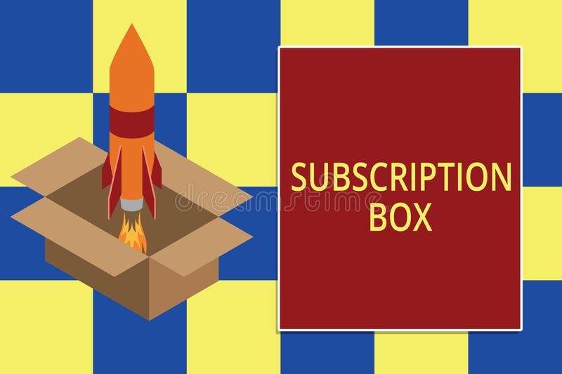 Text sign showing Subscription Box. Conceptual photo button if you clicked on will get news or videos about site Fire stock illustration