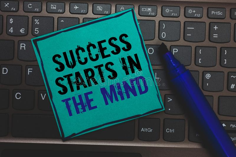 Text sign showing Success Starts In The Mind. Conceptual photo Have positive thoughts accomplish what you want Huge button with co stock photography