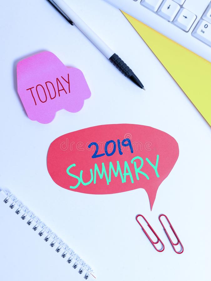 Text sign showing 2019 Summary. Conceptual photo brief comprehensive especially covering the main points of 2019 Red bubble copy. Text sign showing 2019 Summary royalty free stock photo