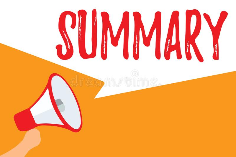 Text sign showing Summary. Conceptual photo Brief Statement Abstract Synopsis Concise Abbreviated version Megaphone loudspeaker. Speech bubbles important vector illustration