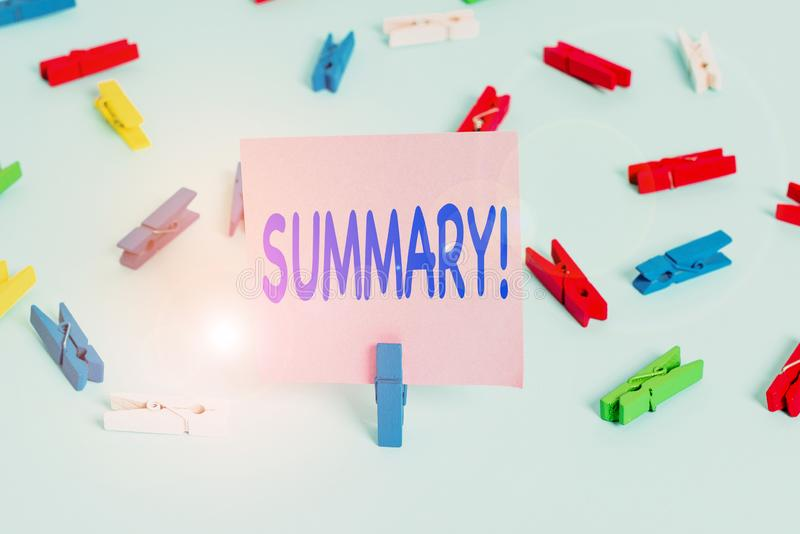 Text sign showing Summary. Conceptual photo brief statement or account of main points of something subject Colored clothespin. Text sign showing Summary royalty free stock images