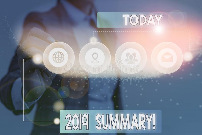 Text sign showing 2019 Summary. Conceptual photo summarizing past year events main actions or good shows Picture photo system. Text sign showing 2019 Summary royalty free stock images
