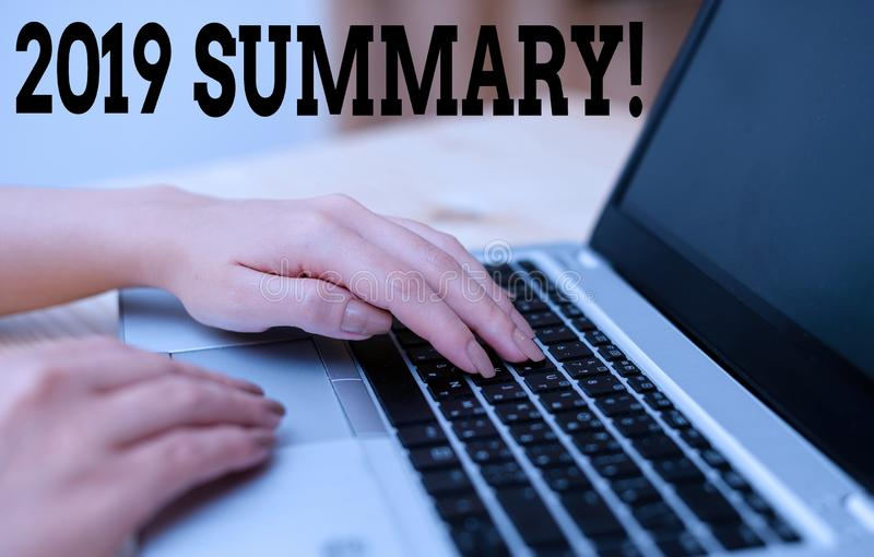 Text sign showing 2019 Summary. Conceptual photo summarizing past year events main actions or good shows woman laptop. Text sign showing 2019 Summary. Business royalty free stock photo