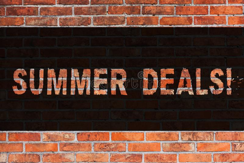 Text sign showing Summer Deals. Conceptual photo Special Sales Offers for Vacation Holiday Trips Price Discounts Brick. Text sign showing Summer Deals. Business stock image