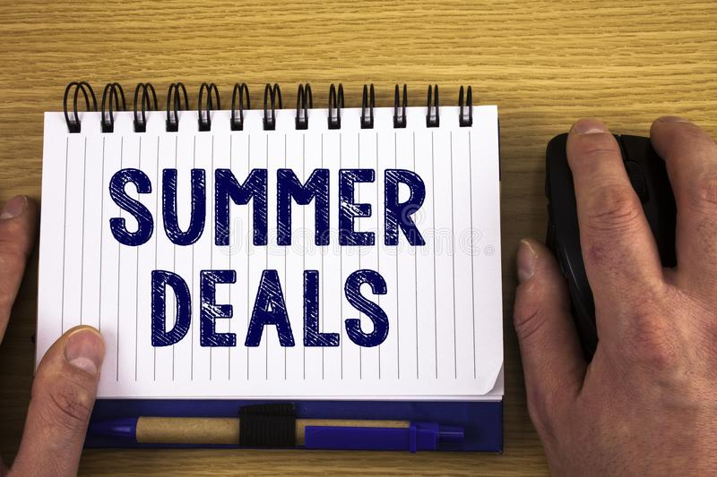 Text sign showing Summer Deals. Conceptual photos Special Sales Offers for Vacation Holiday Trips Price Discounts. Text sign showing Summer Deals. Conceptual royalty free stock photo