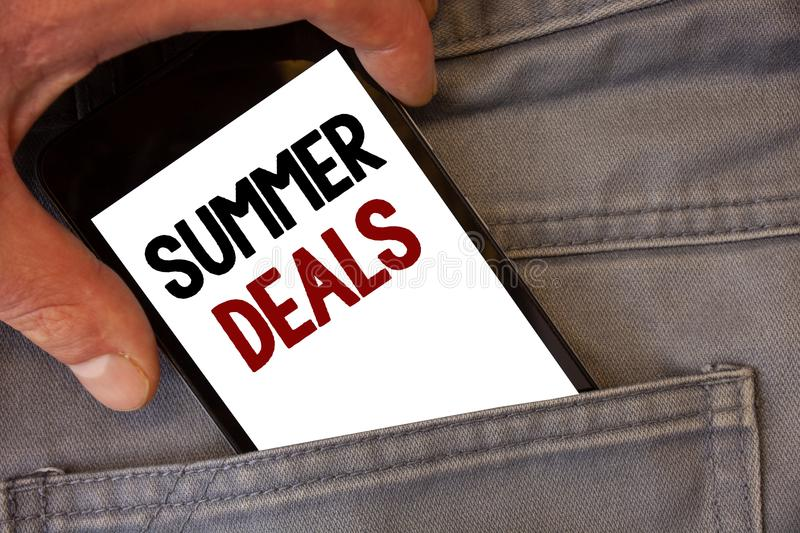 Text sign showing Summer Deals. Conceptual photos Special Sales Offers for Vacation Holiday Trips Price Discounts. Text sign showing Summer Deals. Conceptual royalty free stock images