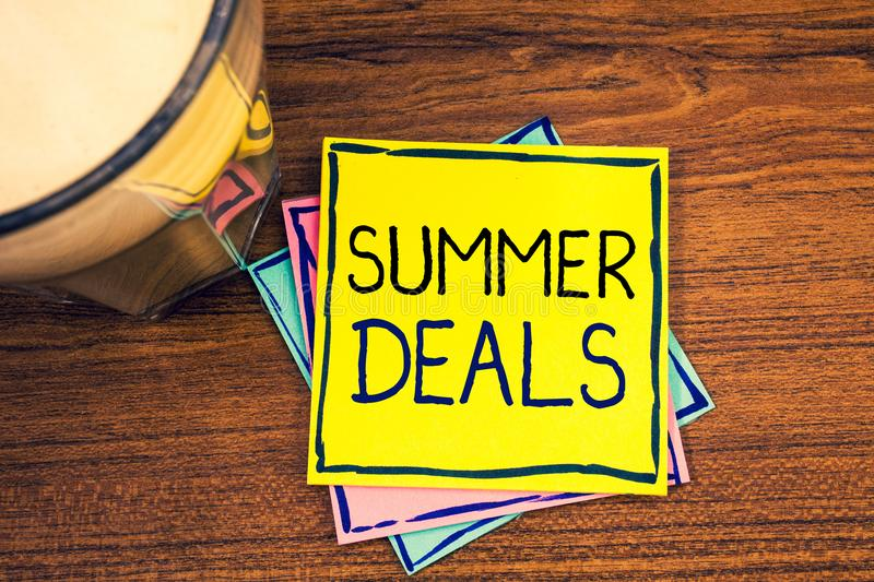 Text sign showing Summer Deals. Conceptual photos Special Sales Offers for Vacation Holiday Trips Price Discounts. Text sign showing Summer Deals. Conceptual stock photos