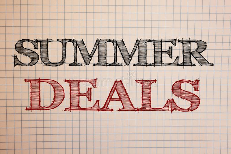 Text sign showing Summer Deals. Conceptual photos Special Sales Offers for Vacation Holiday Trips Price Discounts. Text sign showing Summer Deals. Conceptual stock photography