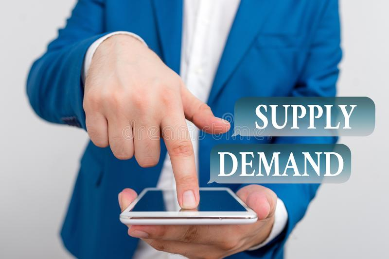Text sign showing Supply Deanalysisd. Conceptual photo Relationship between the amounts available and wanted Businessman. Text sign showing Supply Deanalysisd royalty free stock image