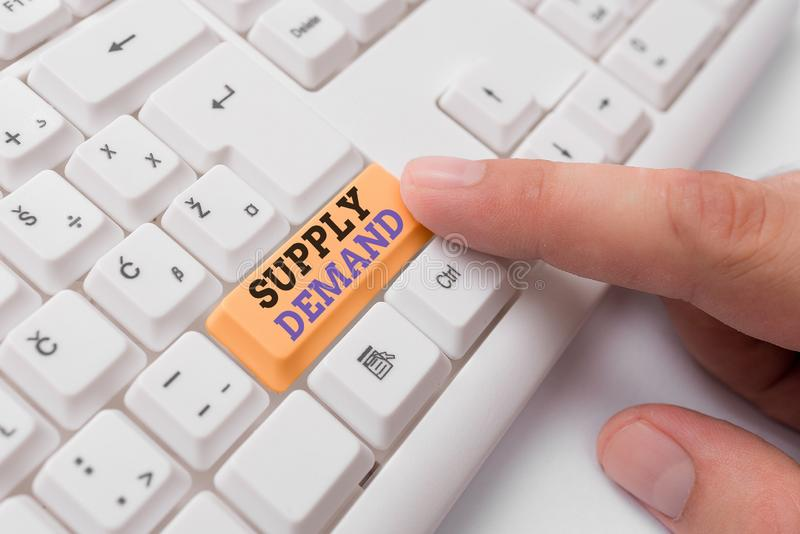 Text sign showing Supply Deanalysisd. Conceptual photo Relationship between the amounts available and wanted White pc. Text sign showing Supply Deanalysisd royalty free stock images