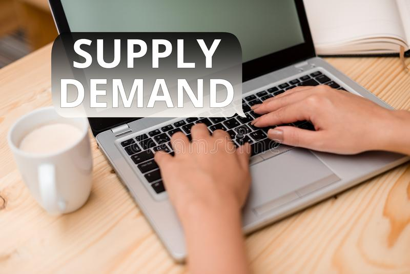 Text sign showing Supply Deanalysisd. Conceptual photo Relationship between the amounts available and wanted woman. Text sign showing Supply Deanalysisd royalty free stock photos