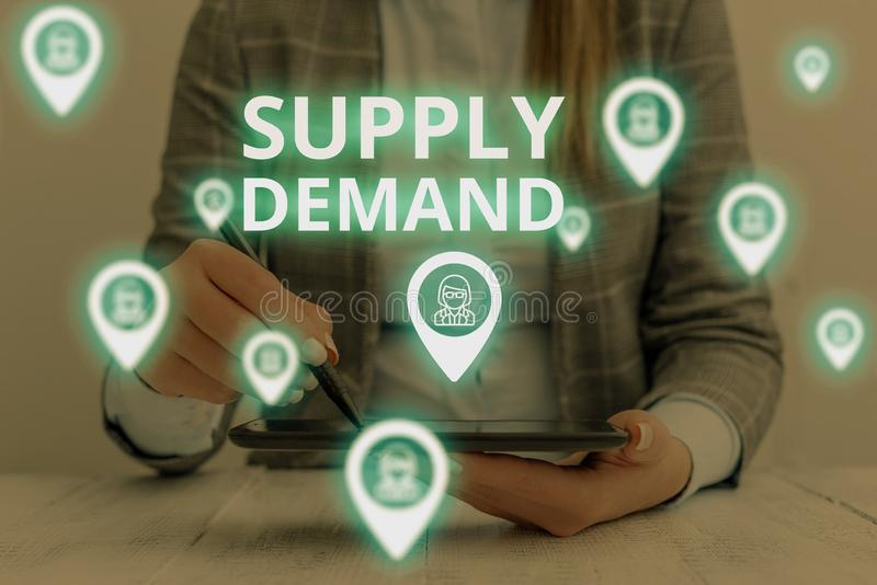 Text sign showing Supply Deanalysisd. Conceptual photo Relationship between the amounts available and wanted Woman wear. Text sign showing Supply Deanalysisd royalty free stock images