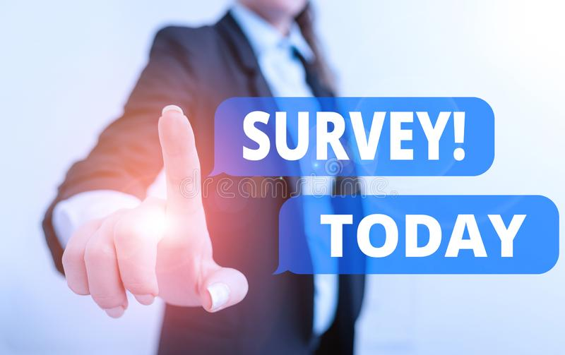 Text sign showing Survey. Conceptual photo research method used for collecting data from a predefined group Digital. Text sign showing Survey. Business photo stock images