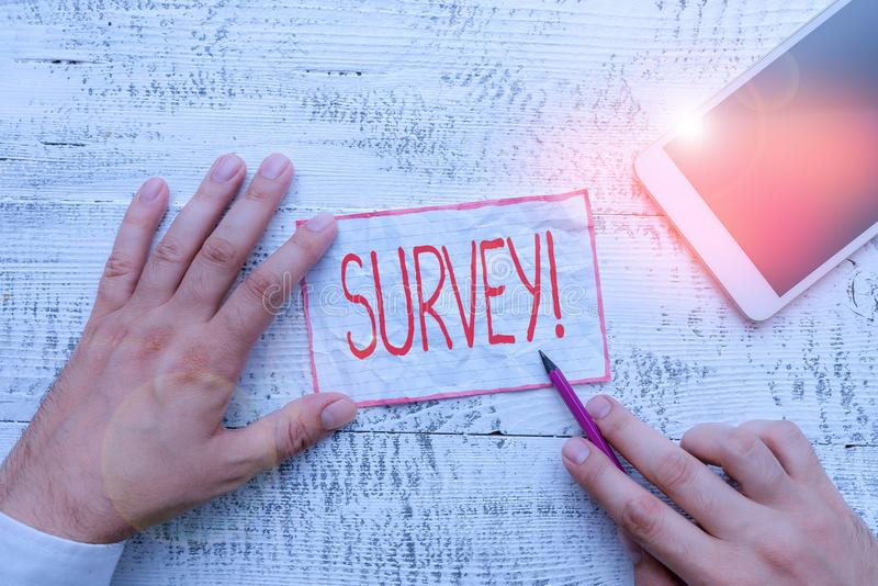 Text sign showing Survey. Conceptual photo research method used for collecting data from a predefined group. Text sign showing Survey. Business photo showcasing stock photo