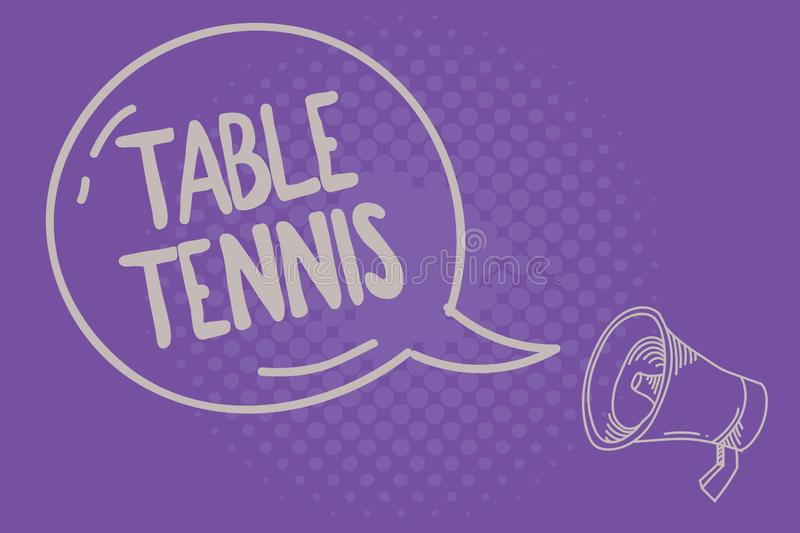 Text sign showing Table Tennis. Conceptual photo Indoor game played with small bats and a ball bounced royalty free illustration
