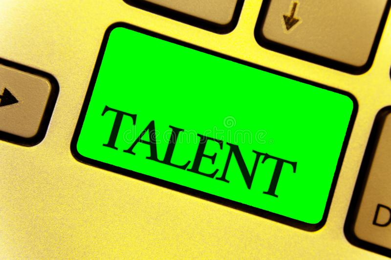 Text sign showing Talent. Conceptual photo Natural abilities of people showing specialized skills they possess Close up Keyboard k. Ey yellow laptop notebook stock images