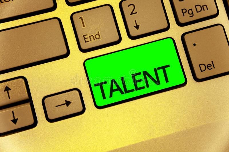 Text sign showing Talent. Conceptual photo Natural abilities of people showing specialized skills they possess Keyboard key laptop. Creative computer brown stock photo