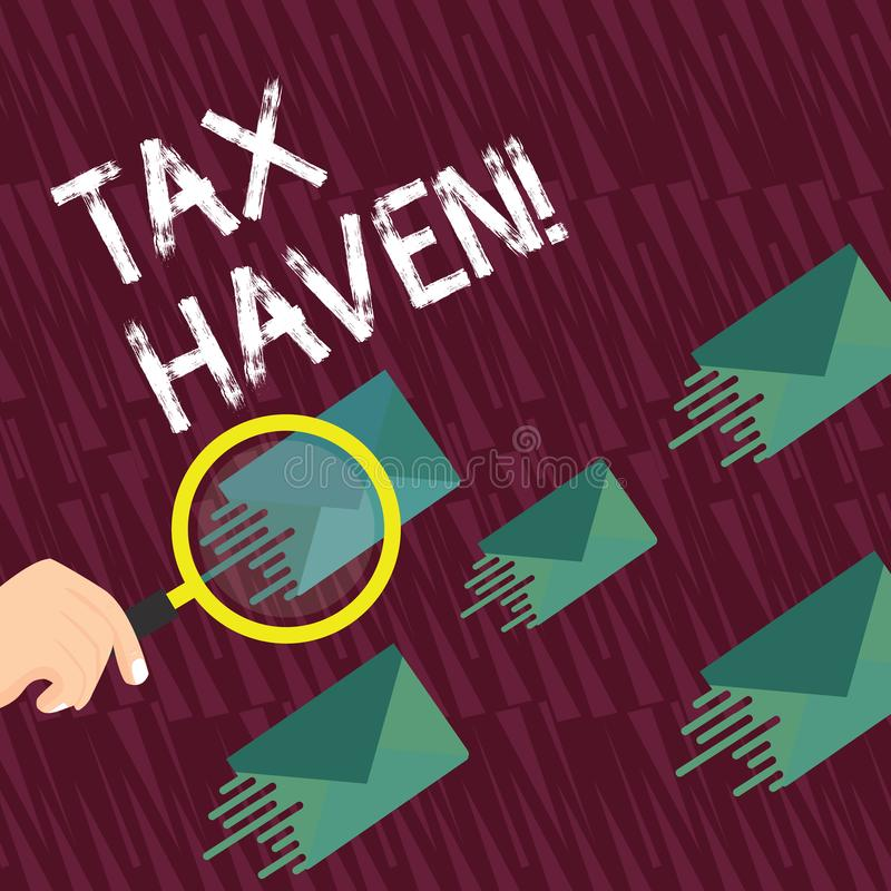 Text sign showing Tax Haven. Conceptual photo country or independent area where taxes are levied at low rate Magnifying. Text sign showing Tax Haven. Business vector illustration