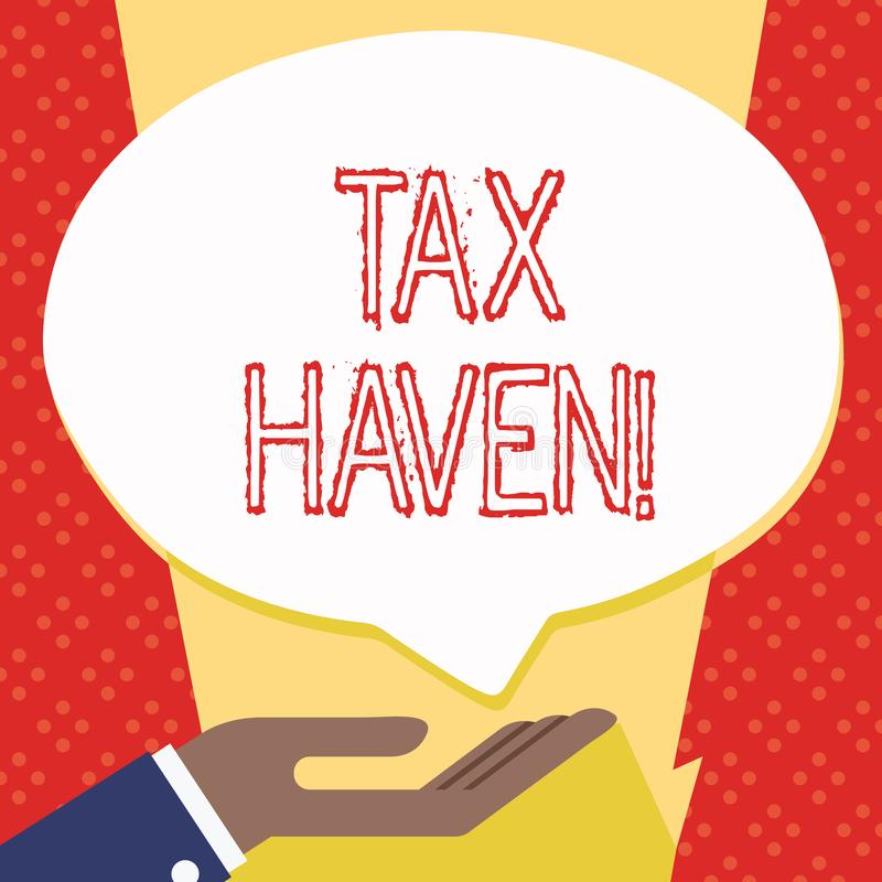 Text sign showing Tax Haven. Conceptual photo country or independent area where taxes are levied at low rate Palm Up in. Text sign showing Tax Haven. Business vector illustration