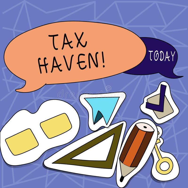 Text sign showing Tax Haven. Conceptual photo country or independent area where taxes are levied at low rate Two Blank. Text sign showing Tax Haven. Business vector illustration