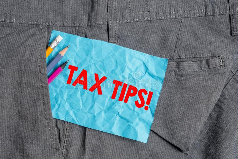 Text sign showing Tax Tips. Conceptual photo compulsory contribution to state revenue levied by government Writing. Text sign showing Tax Tips. Business photo stock image
