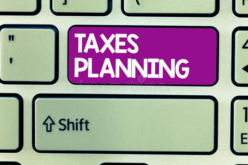Text sign showing Taxes Planning. Conceptual photo Analysis of a financial situation Ensure tax efficiency.  royalty free stock photo