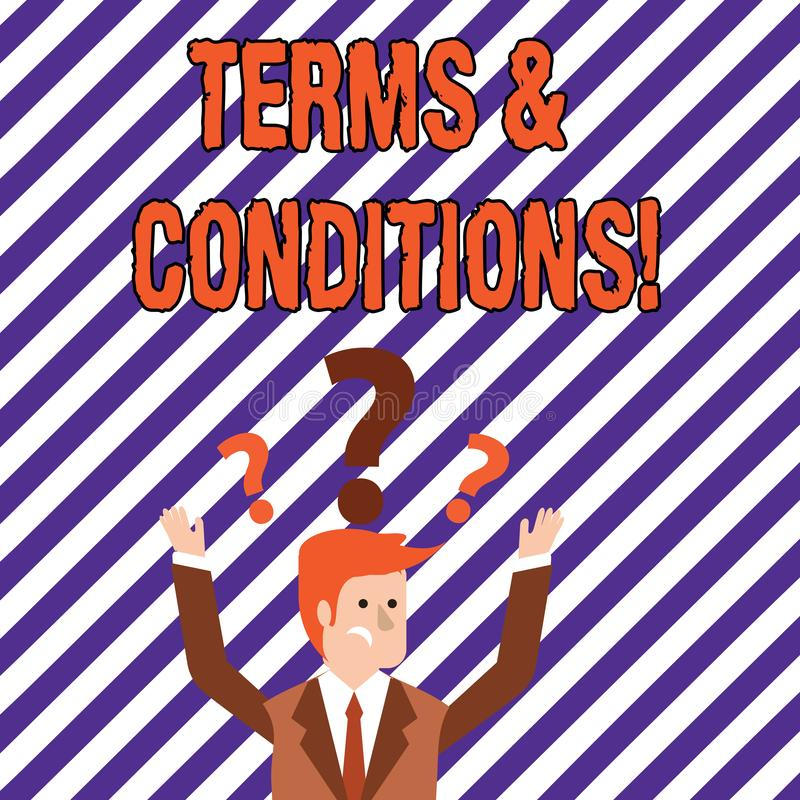 Text sign showing Terms And Conditions. Conceptual photo Legal Law Agreement Disclaimer Restrictions Settlement. Text sign showing Terms And Conditions. Business vector illustration