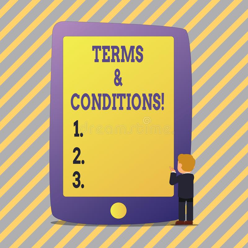 Text sign showing Terms And Conditions. Conceptual photo Legal Law Agreement Disclaimer Restrictions Settlement. Text sign showing Terms And Conditions royalty free illustration