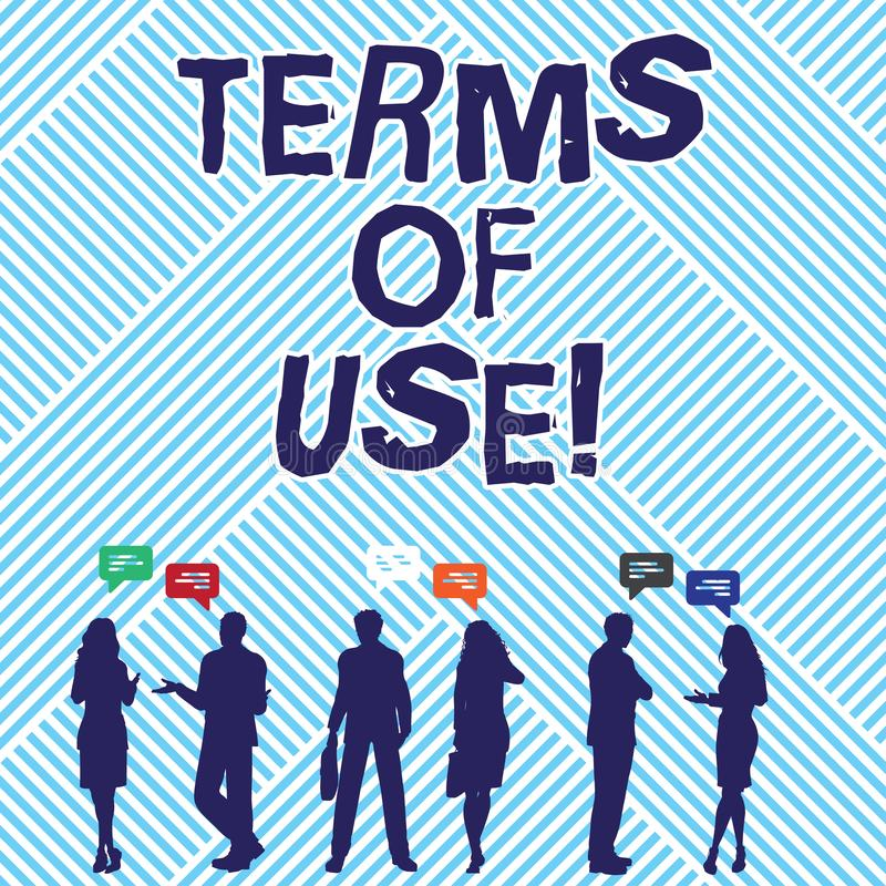 Text sign showing Terms Of Use. Conceptual photo Established conditions for using something Policies Agreements. Text sign showing Terms Of Use. Conceptual royalty free illustration