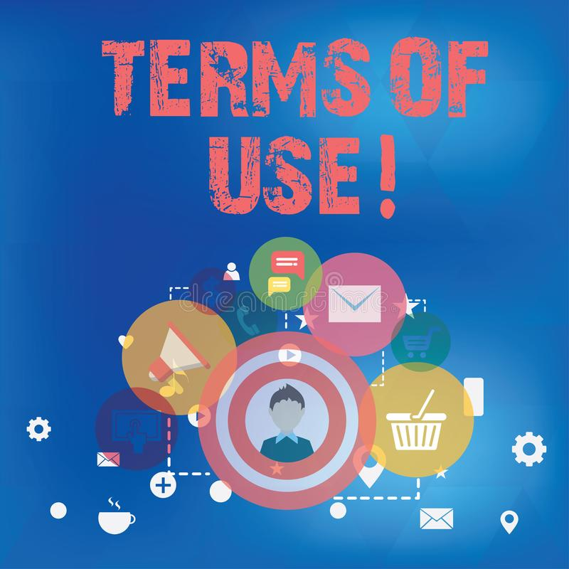 Text sign showing Terms Of Use. Conceptual photo Established conditions for using something Policies Agreements. Text sign showing Terms Of Use. Conceptual stock illustration