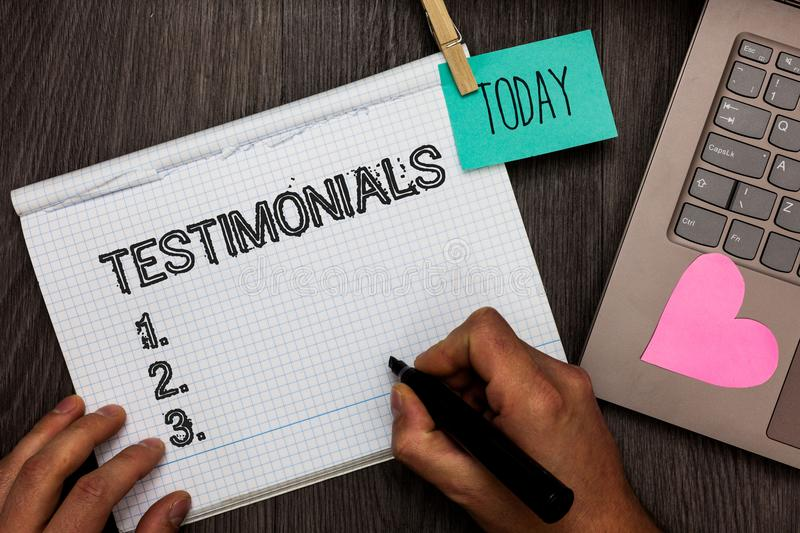 Text sign showing Testimonials. Conceptual photo Customers formal endorsement statement experience of someone Appointment daily gr. Aph paper love lovely hart stock image