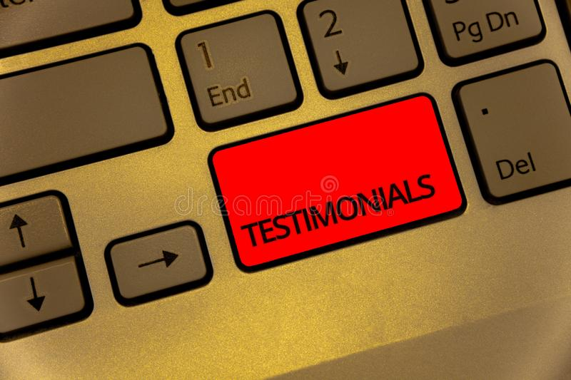 Text sign showing Testimonials. Conceptual photo Customers formal endorsement statement experience of someone Keyboard brown key y. Ellow laptop creative royalty free stock photo